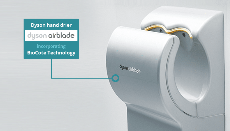 Dyson Airblade - protected with BioCote